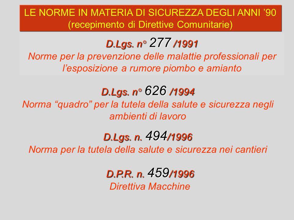 D.Lgs. n° 277 /1991 Norme per la prevenzione delle malattie professionali per l'esposizione a rumore piombo e amianto LE NORME IN MATERIA DI SICUREZZA