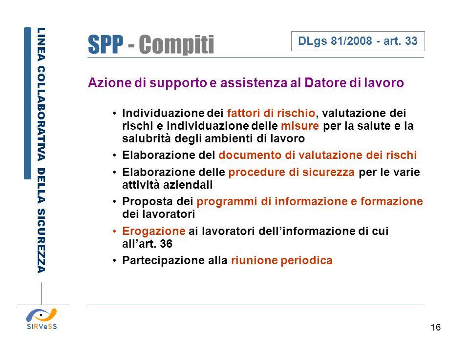 16 Azione di supporto e assistenza al Datore di lavoro Individuazione dei fattori di rischio, valutazione dei rischi e individuazione delle misure per