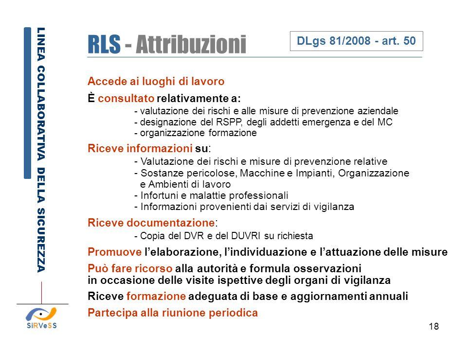18 RLS - Attribuzioni LINEA COLLABORATIVA DELLA SICUREZZA DLgs 81/2008 - art. 50 SiRVeSS Accede ai luoghi di lavoro È consultato relativamente a: - va
