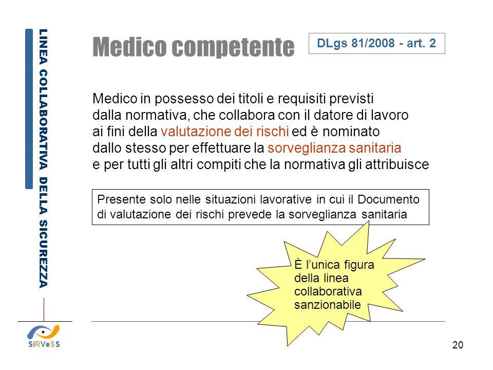 20 Presente solo nelle situazioni lavorative in cui il Documento di valutazione dei rischi prevede la sorveglianza sanitaria Medico competente Medico