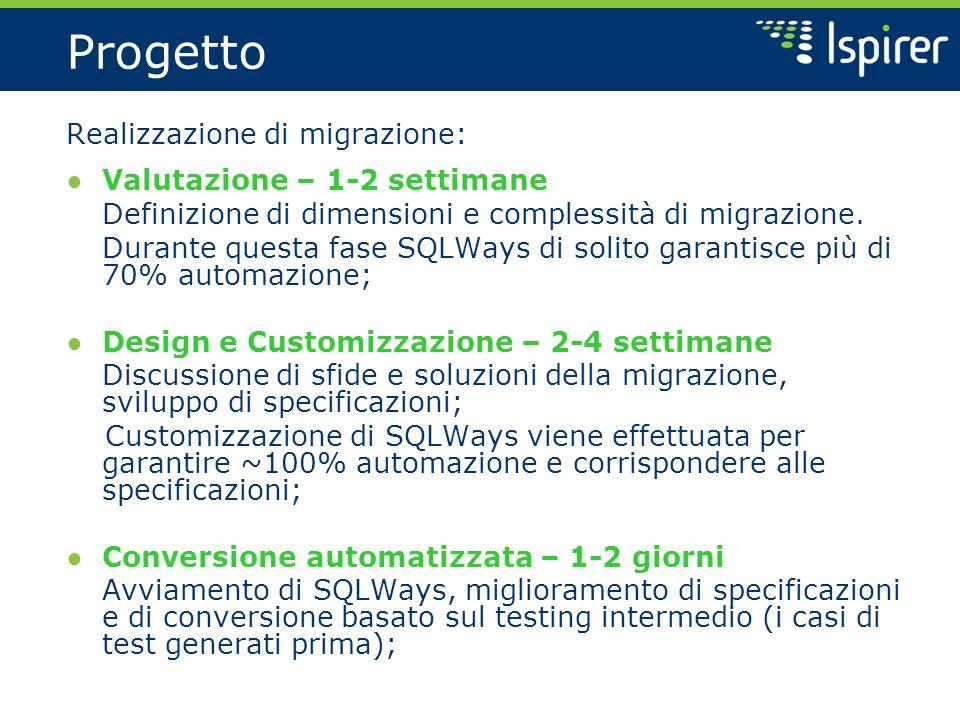 Progetto Realizzazione di migrazione: ● Valutazione – 1-2 settimane Definizione di dimensioni e complessità di migrazione.