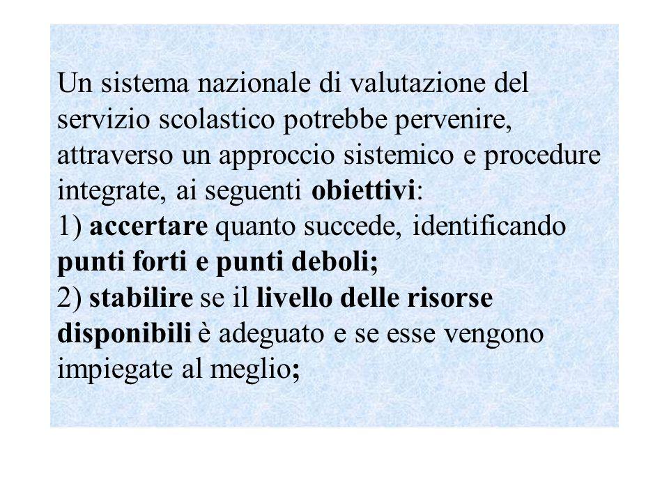 INValSI (1999-2004) fornitura di supporto e assistenza tecnica all'amministrazione per la realizzazione di autonome iniziative di valutazione e di supporto alle singole istituzioni scolastiche, anche mediante la predisposizione di archivi informatici liberamente consultabili; valutazione degli effetti degli esiti applicativi delle iniziative legislative che riguardano la scuola; valutazione degli esiti dei progetti e delle iniziative di innovazione promossi in ambito nazionale; assicurazione della partecipazione italiana a progetti di ricerca internazionale in campo valutativo e nei settori connessi dell'innovazione organizzativa e didattica; realizzazione di iniziative che comportino attività di valutazione e promozione della cultura dell'autovalutazione da parte delle scuole.