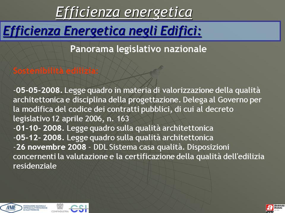 Efficienza energetica Efficienza Energetica negli Edifici: Panorama legislativo nazionale Sostenibilità edilizia: -05-05-2008. Legge quadro in materia