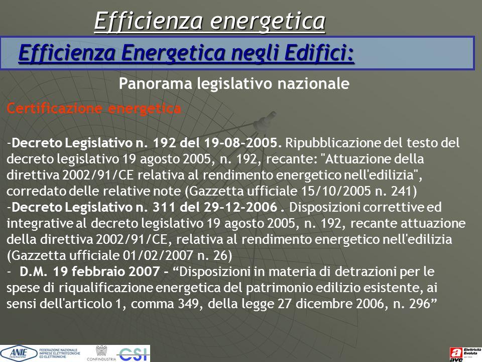 Efficienza energetica Efficienza Energetica negli Edifici: Panorama legislativo nazionale Certificazione energetica -Decreto Legislativo n. 192 del 19