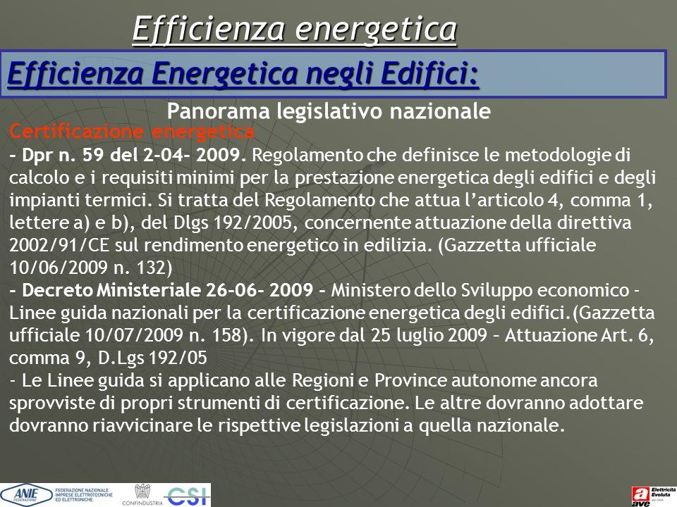Efficienza energetica Efficienza Energetica negli Edifici: Panorama legislativo nazionale Certificazione energetica - Dpr n. 59 del 2-04- 2009. Regola