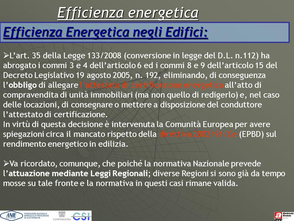 Efficienza energetica Efficienza Energetica negli Edifici:  L'art. 35 della Legge 133/2008 (conversione in legge del D.L. n.112) ha abrogato i commi