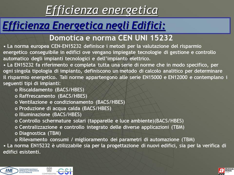 Efficienza energetica Efficienza Energetica negli Edifici: Domotica e norma CEN UNI 15232 La norma europea CEN-EN15232 definisce i metodi per la valut