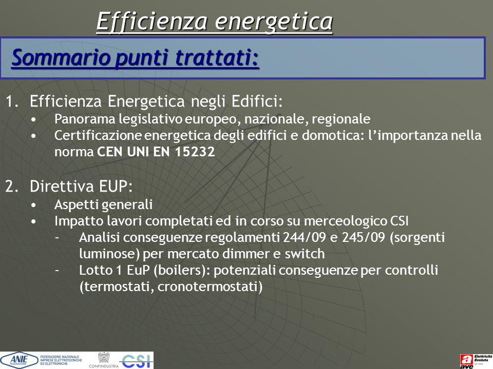 Efficienza energetica Sommario punti trattati: 1.Efficienza Energetica negli Edifici: Panorama legislativo europeo, nazionale, regionale Certificazion