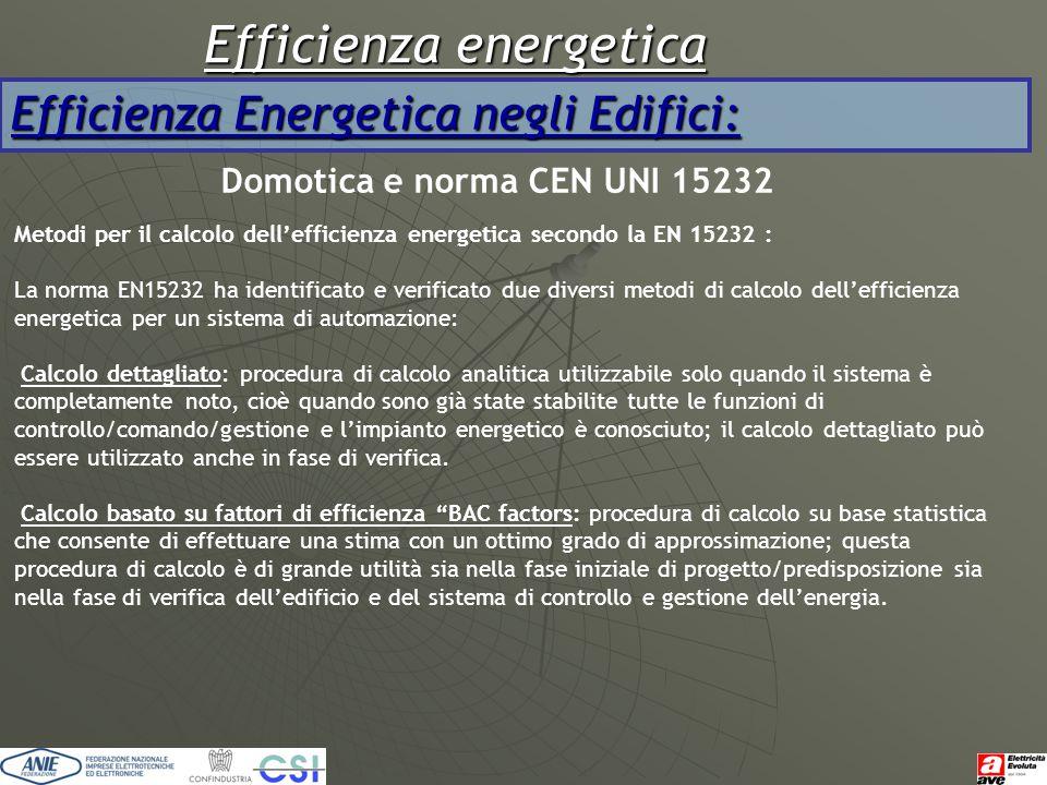 Efficienza energetica Efficienza Energetica negli Edifici: Domotica e norma CEN UNI 15232 Metodi per il calcolo dell'efficienza energetica secondo la