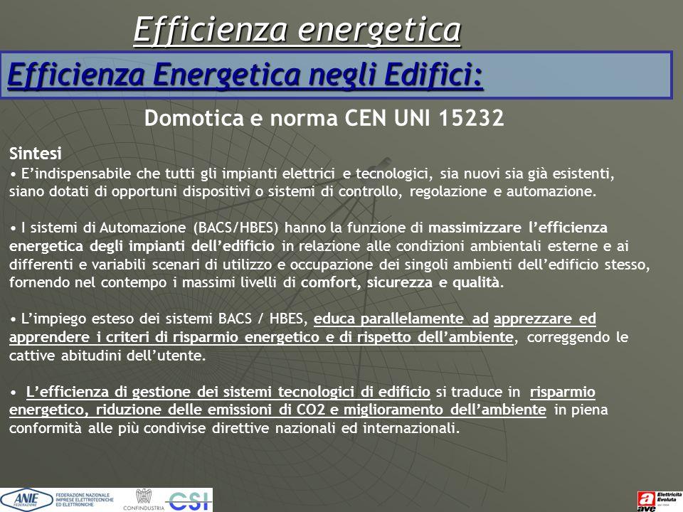 Efficienza energetica Efficienza Energetica negli Edifici: Domotica e norma CEN UNI 15232 Sintesi E'indispensabile che tutti gli impianti elettrici e
