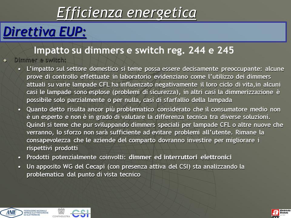 Efficienza energetica Direttiva EUP: Impatto su dimmers e switch reg. 244 e 245  Dimmer e switch: L'impatto sul settore domestico si teme possa esser