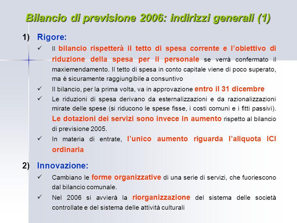 Bilancio di previsione 2006: indirizzi generali (1)  Rigore: Il bilancio rispetterà il tetto di spesa corrente e l'obiettivo di riduzione della spes