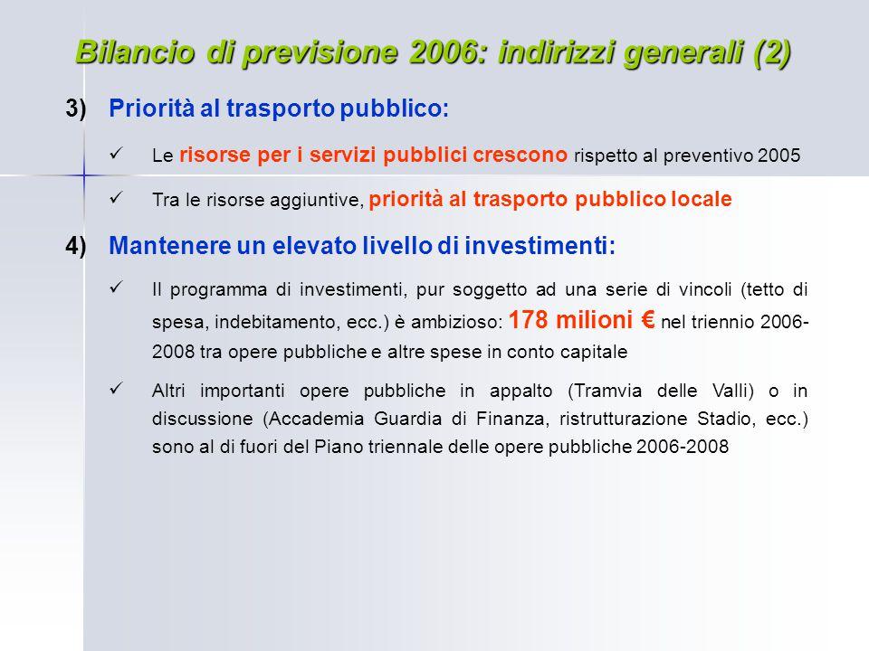 Bilancio di previsione 2006: indirizzi generali (2)  Priorità al trasporto pubblico: Le risorse per i servizi pubblici crescono rispetto al preventi
