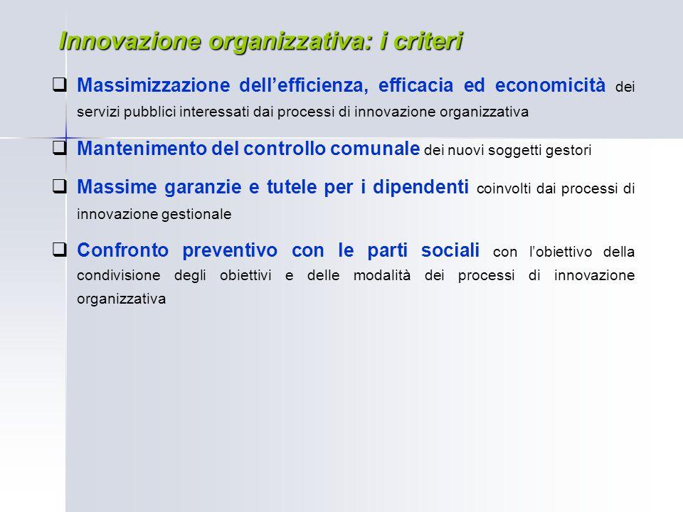 Innovazione organizzativa: i criteri  Massimizzazione dell'efficienza, efficacia ed economicità dei servizi pubblici interessati dai processi di inno