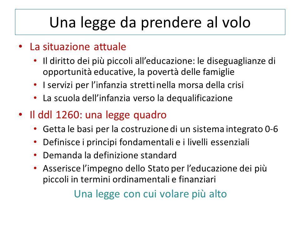 Una legge da prendere al volo La situazione attuale Il diritto dei più piccoli all'educazione: le diseguaglianze di opportunità educative, la povertà