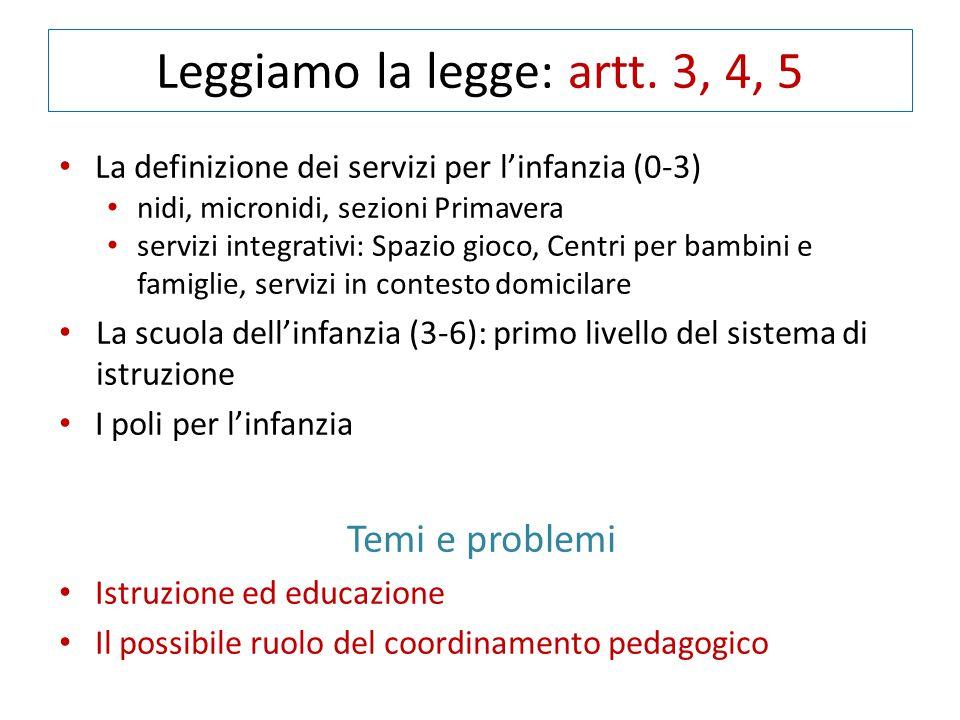 Leggiamo la legge: artt. 3, 4, 5 La definizione dei servizi per l'infanzia (0-3) nidi, micronidi, sezioni Primavera servizi integrativi: Spazio gioco,