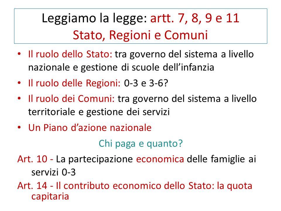 Leggiamo la legge: artt. 7, 8, 9 e 11 Stato, Regioni e Comuni Il ruolo dello Stato: tra governo del sistema a livello nazionale e gestione di scuole d