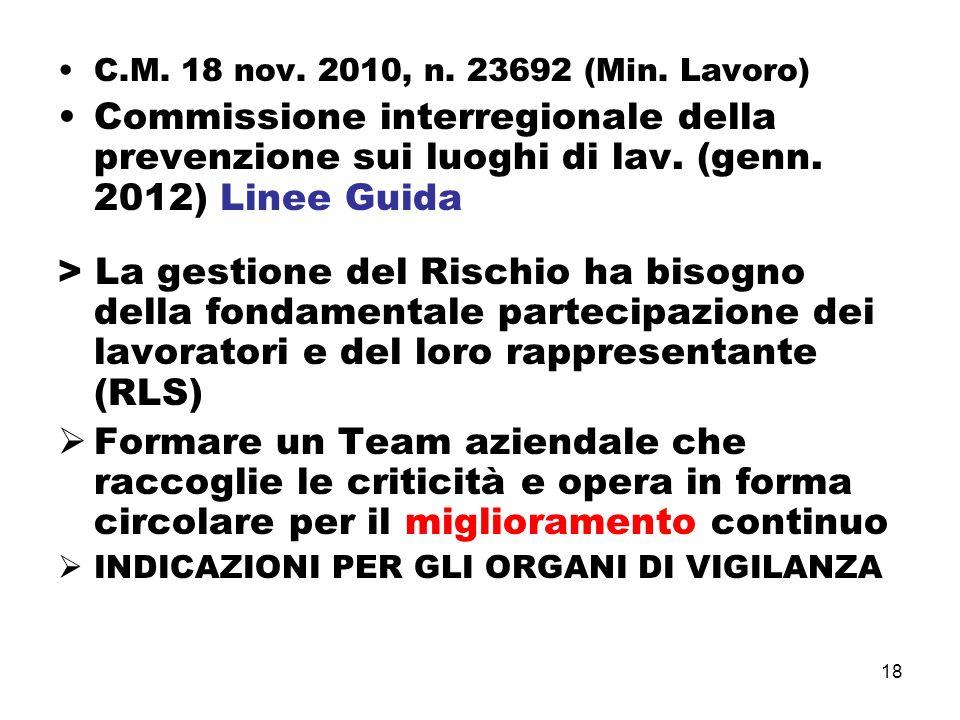 18 C.M. 18 nov. 2010, n. 23692 (Min. Lavoro) Commissione interregionale della prevenzione sui luoghi di lav. (genn. 2012) Linee Guida > La gestione de