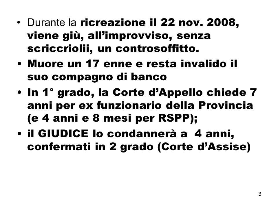 3 Durante la ricreazione il 22 nov. 2008, viene giù, all'improvviso, senza scriccriolii, un controsoffitto. Muore un 17 enne e resta invalido il suo c