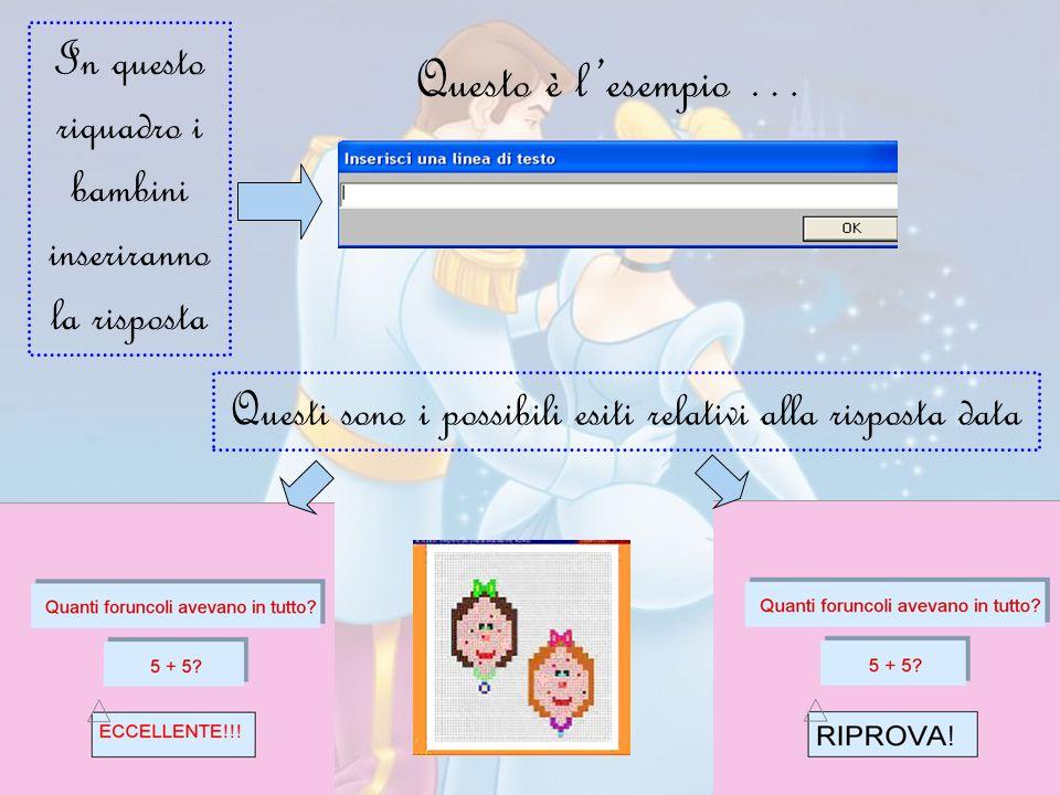 Questo è l'esempio … In questo riquadro i bambini inseriranno la risposta Questi sono i possibili esiti relativi alla risposta data
