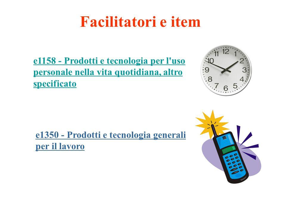 Facilitatori e item e1158 - Prodotti e tecnologia per l'uso personale nella vita quotidiana, altro specificato e1350 - Prodotti e tecnologia generali