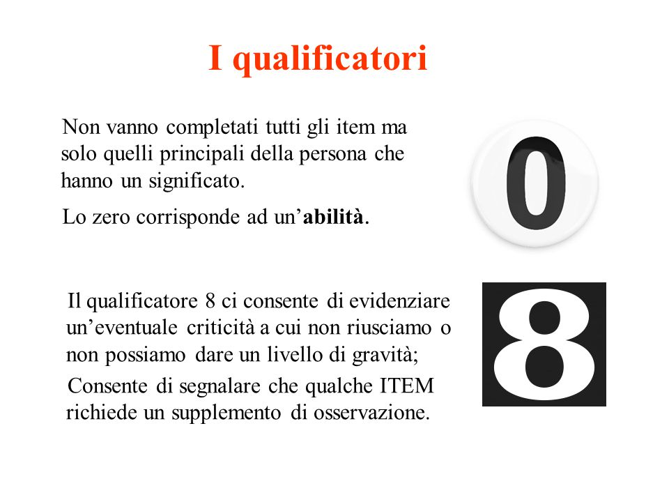 I qualificatori Non vanno completati tutti gli item ma solo quelli principali della persona che hanno un significato. Lo zero corrisponde ad un'abilit