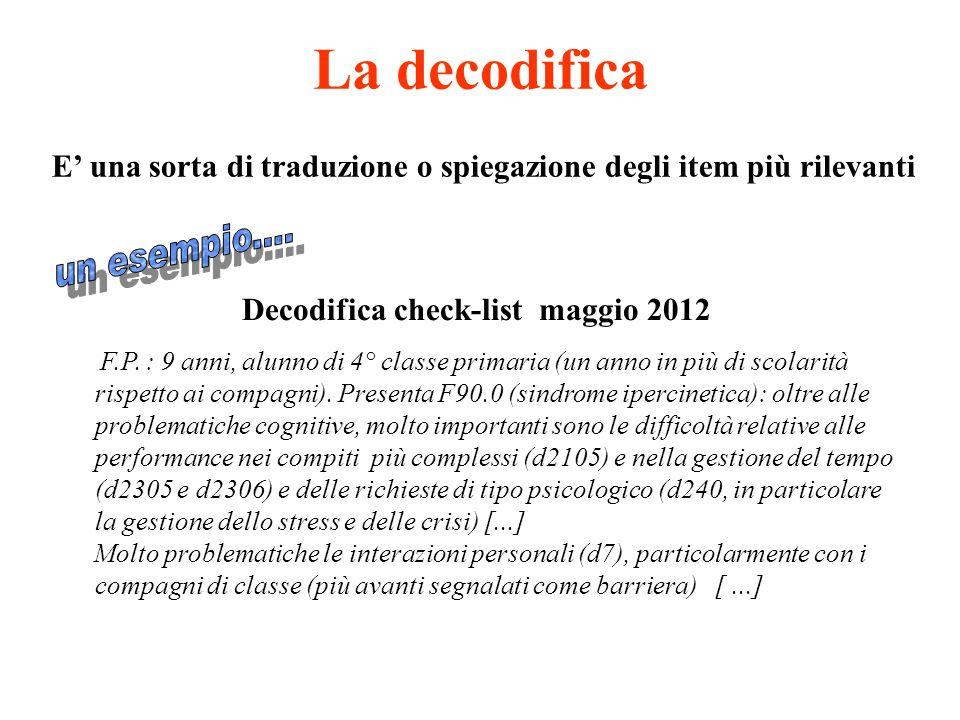 La decodifica E' una sorta di traduzione o spiegazione degli item più rilevanti Decodifica check-list maggio 2012 F.P. : 9 anni, alunno di 4° classe p