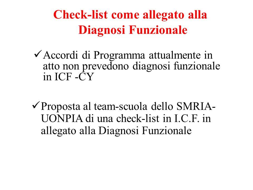 Check-list come allegato alla Diagnosi Funzionale Accordi di Programma attualmente in atto non prevedono diagnosi funzionale in ICF -CY Proposta al te