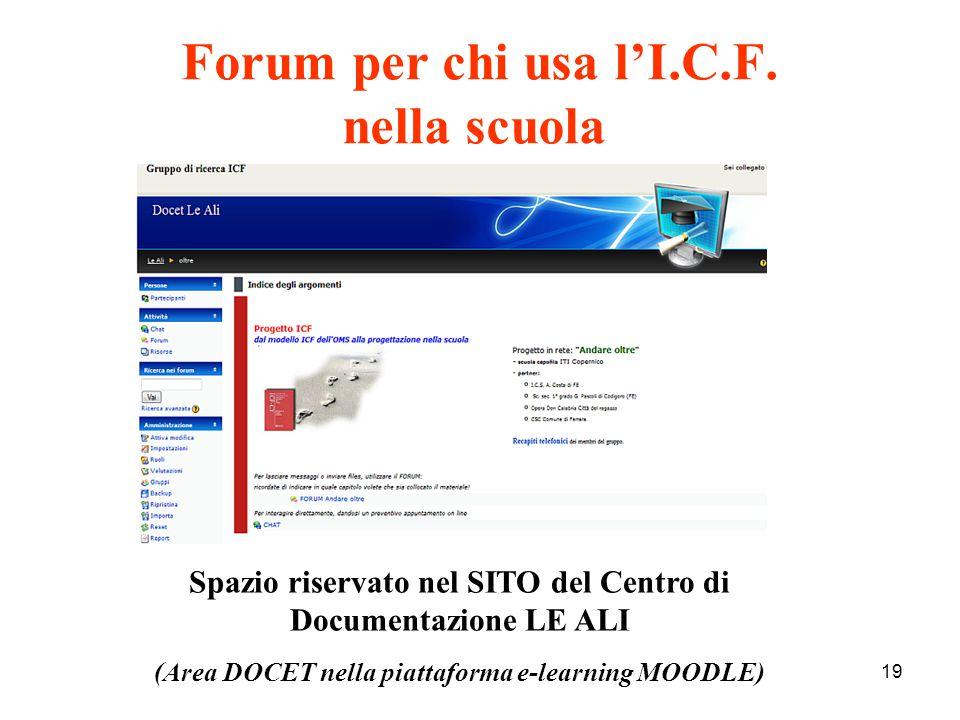 19 Forum per chi usa l'I.C.F. nella scuola Spazio riservato nel SITO del Centro di Documentazione LE ALI (Area DOCET nella piattaforma e-learning MOOD