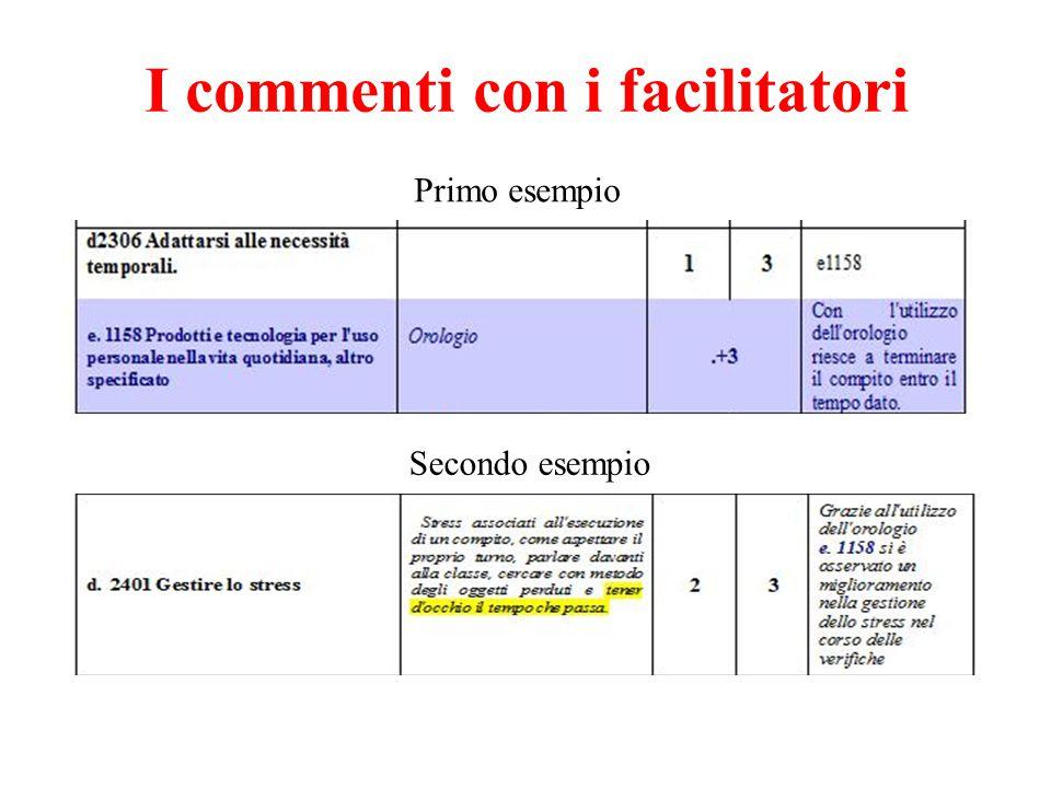 I commenti con i facilitatori Primo esempio Secondo esempio