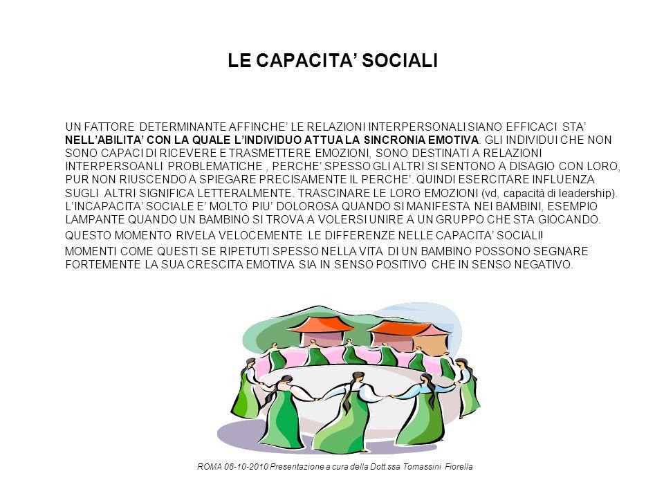 LE CAPACITA' SOCIALI UN FATTORE DETERMINANTE AFFINCHE' LE RELAZIONI INTERPERSONALI SIANO EFFICACI STA' NELL'ABILITA' CON LA QUALE L'INDIVIDUO ATTUA LA