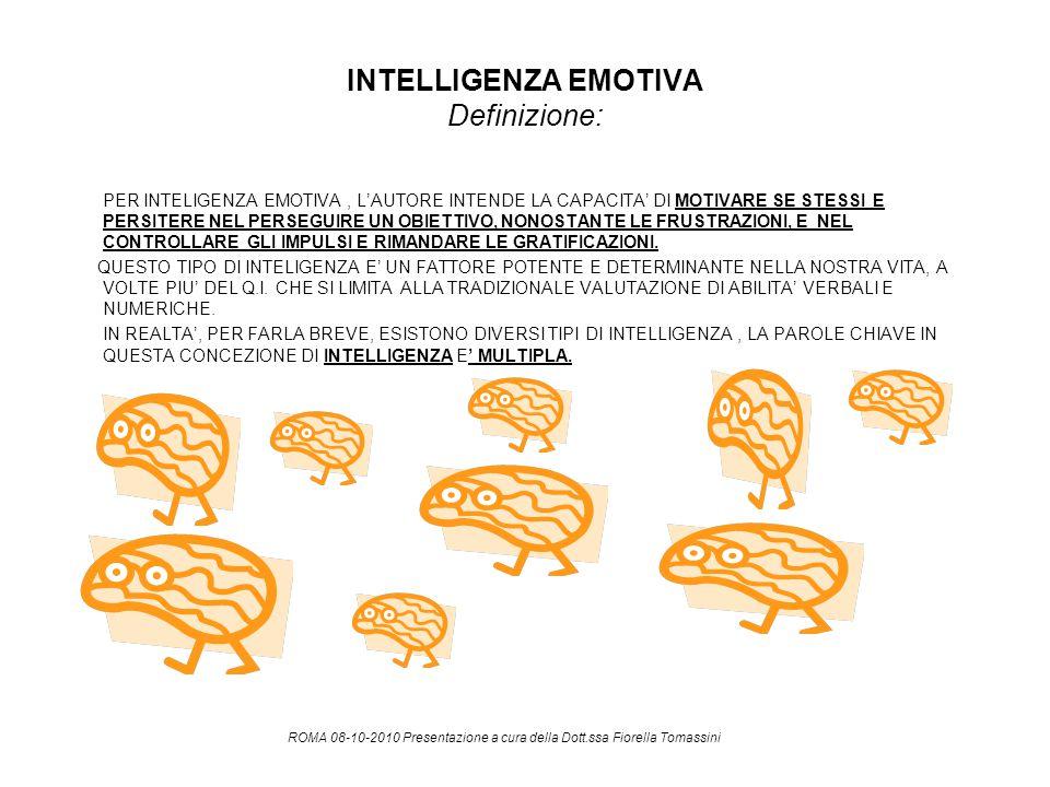 INTELLIGENZA EMOTIVA Definizione: PER INTELIGENZA EMOTIVA, L'AUTORE INTENDE LA CAPACITA' DI MOTIVARE SE STESSI E PERSITERE NEL PERSEGUIRE UN OBIETTIVO
