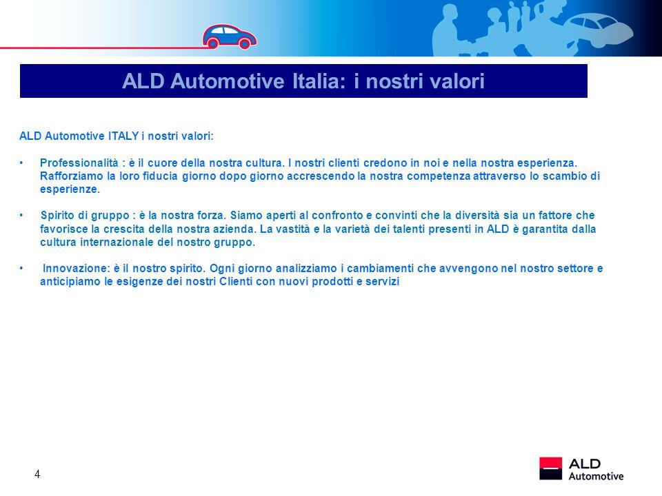 4 ALD Automotive ITALY i nostri valori: Professionalità : è il cuore della nostra cultura. I nostri clienti credono in noi e nella nostra esperienza.