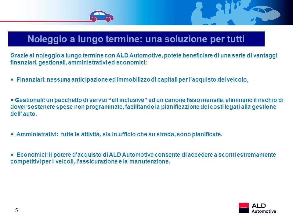 5 Grazie al noleggio a lungo termine con ALD Automotive, potete beneficiare di una serie di vantaggi finanziari, gestionali, amministrativi ed economi