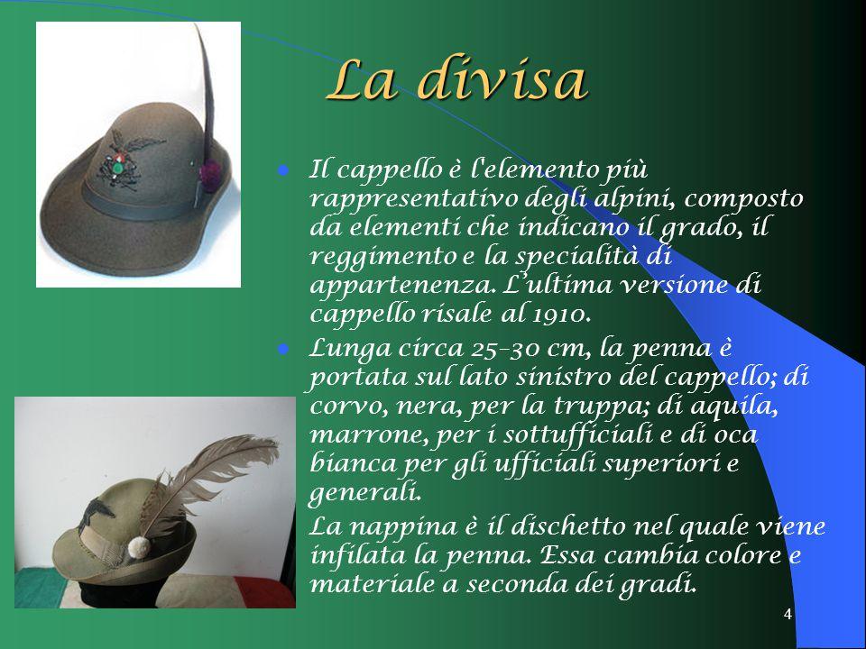 4 La divisa Il cappello è l'elemento più rappresentativo degli alpini, composto da elementi che indicano il grado, il reggimento e la specialità di ap
