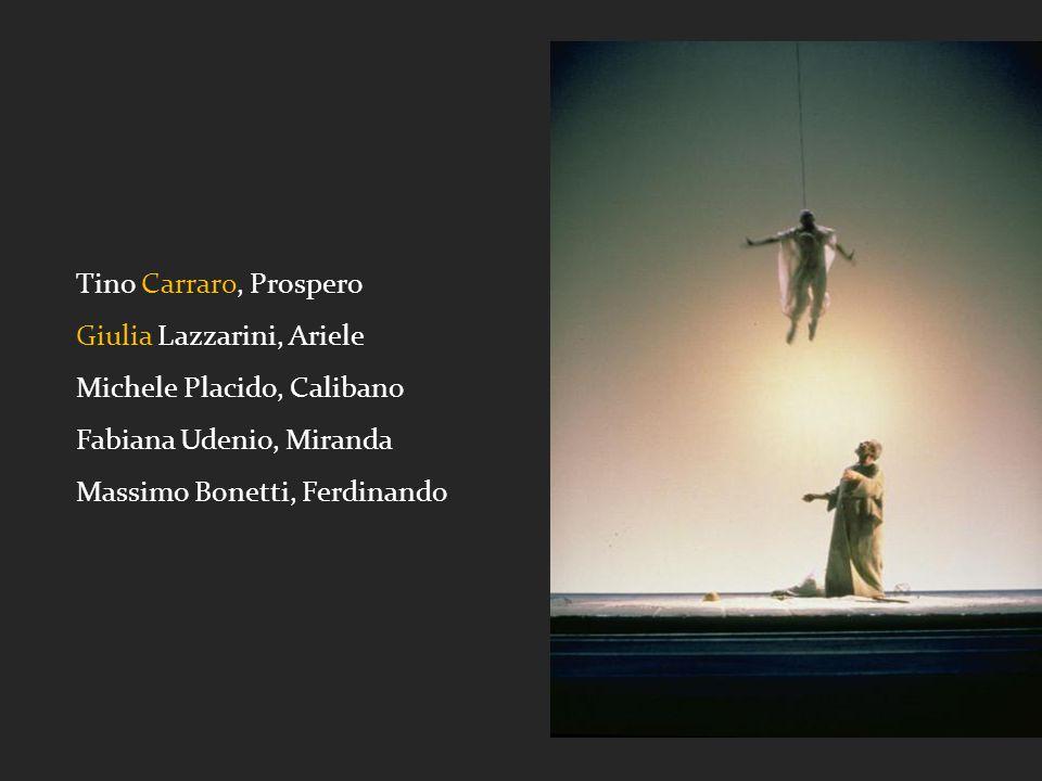 Tino Carraro, Prospero Giulia Lazzarini, Ariele Michele Placido, Calibano Fabiana Udenio, Miranda Massimo Bonetti, Ferdinando