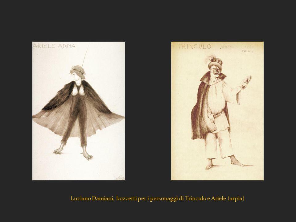 Luciano Damiani, bozzetti per i personaggi di Trinculo e Ariele (arpia)