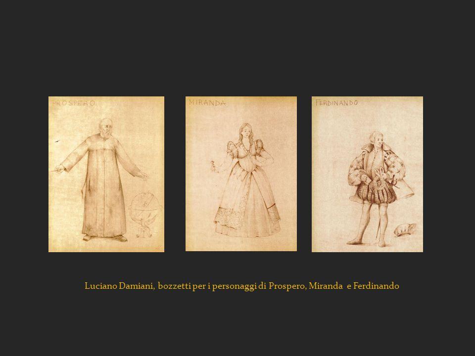 Luciano Damiani, bozzetti per i personaggi di Prospero, Miranda e Ferdinando