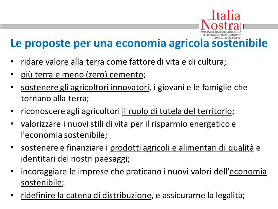 Le proposte per una economia agricola sostenibile ridare valore alla terra come fattore di vita e di cultura; più terra e meno (zero) cemento; sostene