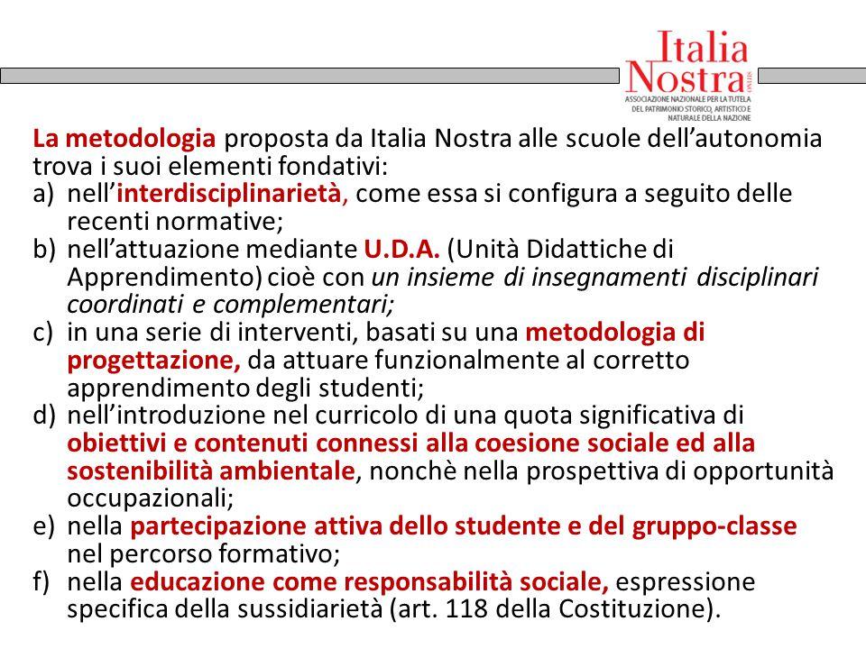 La metodologia proposta da Italia Nostra alle scuole dell'autonomia trova i suoi elementi fondativi: a)nell'interdisciplinarietà, come essa si configu