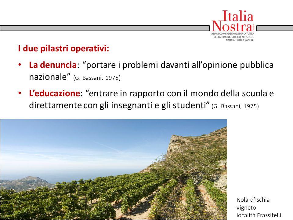 """I due pilastri operativi: La denuncia: """"portare i problemi davanti all'opinione pubblica nazionale"""" (G. Bassani, 1975) L'educazione: """"entrare in rappo"""