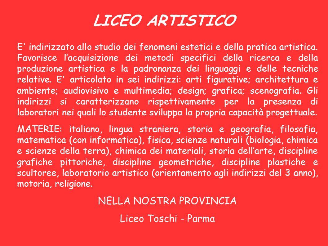 LICEO ARTISTICO E' indirizzato allo studio dei fenomeni estetici e della pratica artistica. Favorisce l'acquisizione dei metodi specifici della ricerc