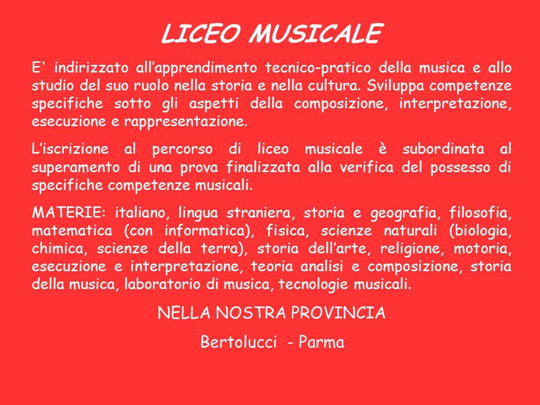 LICEO MUSICALE E' indirizzato all'apprendimento tecnico-pratico della musica e allo studio del suo ruolo nella storia e nella cultura. Sviluppa compet