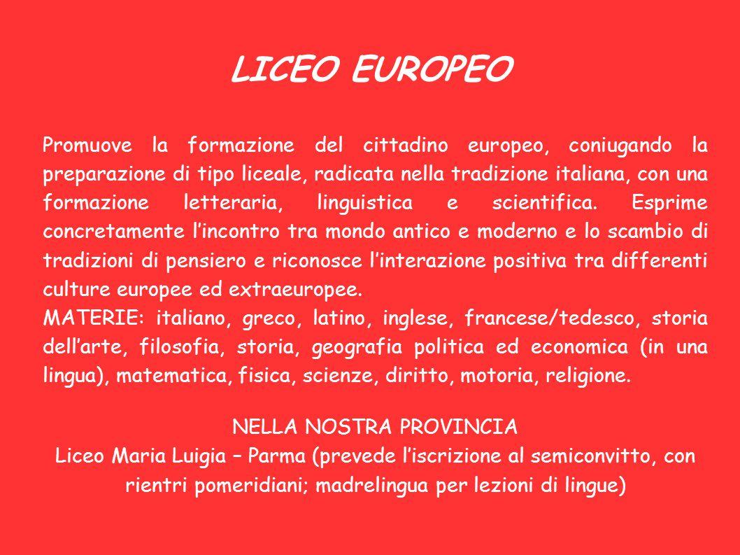 LICEO EUROPEO Promuove la formazione del cittadino europeo, coniugando la preparazione di tipo liceale, radicata nella tradizione italiana, con una fo