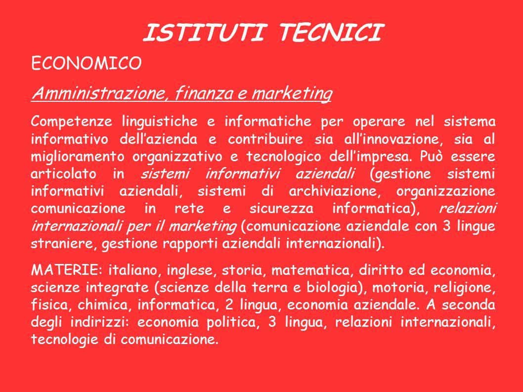 ISTITUTI TECNICI ECONOMICO Amministrazione, finanza e marketing Competenze linguistiche e informatiche per operare nel sistema informativo dell'aziend