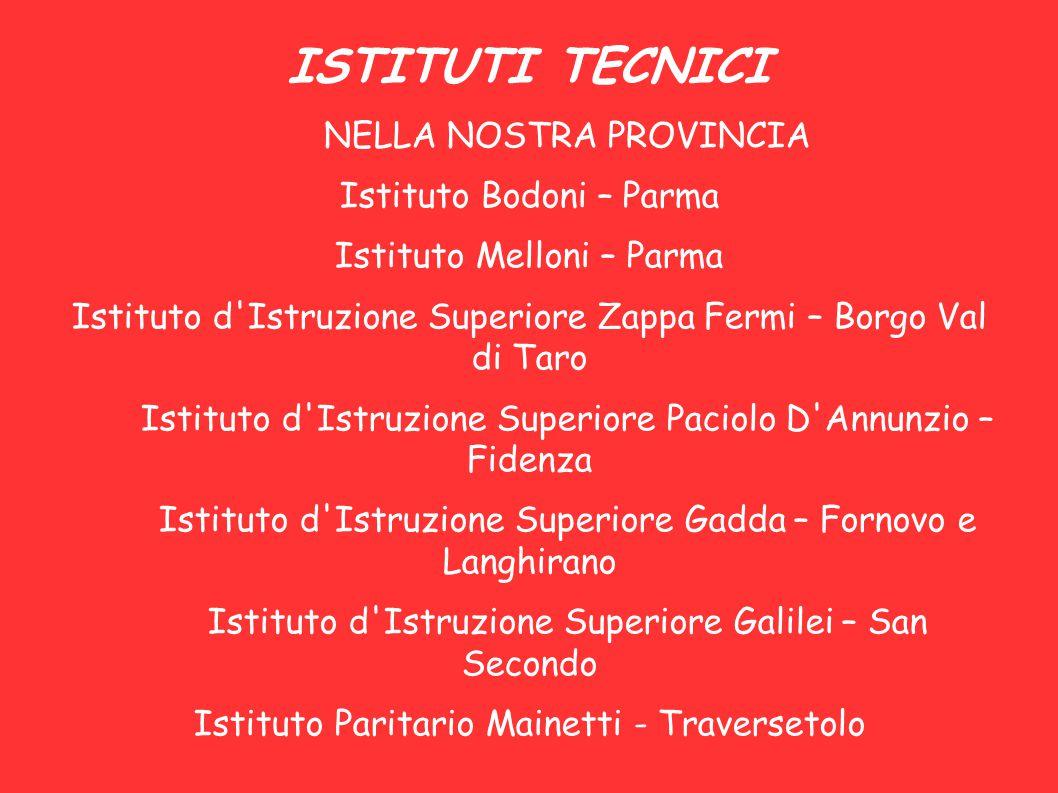 ISTITUTI TECNICI NELLA NOSTRA PROVINCIA Istituto Bodoni – Parma Istituto Melloni – Parma Istituto d'Istruzione Superiore Zappa Fermi – Borgo Val di Ta