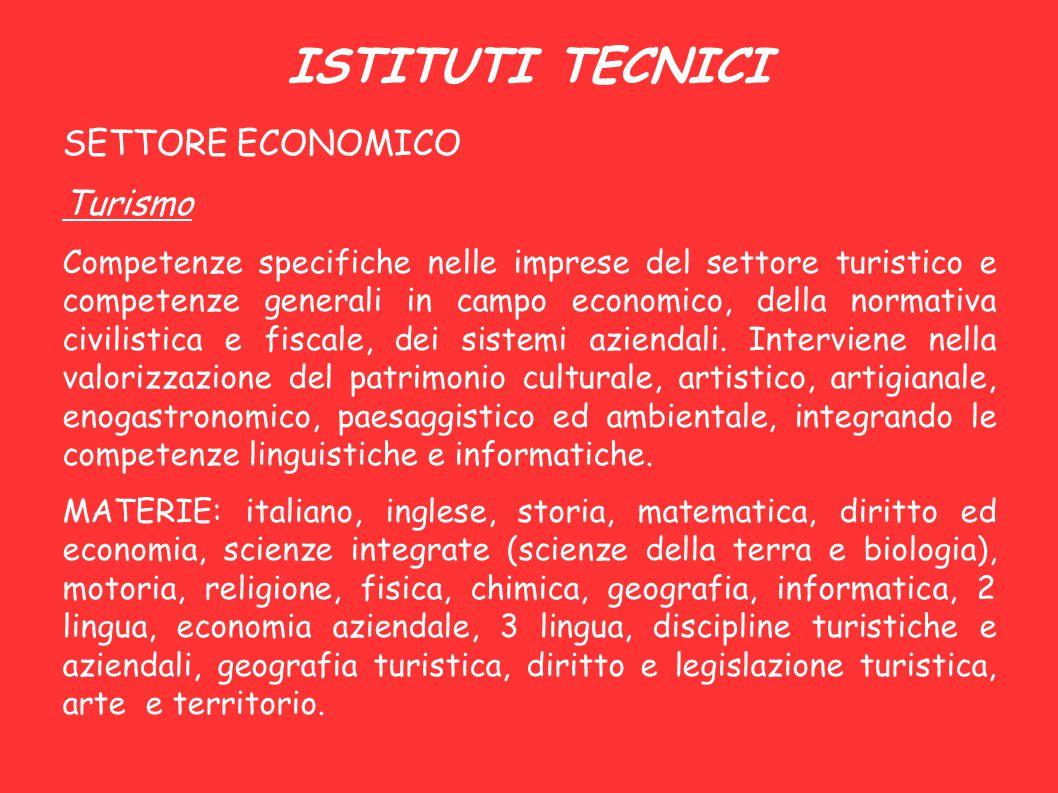 ISTITUTI TECNICI SETTORE ECONOMICO Turismo Competenze specifiche nelle imprese del settore turistico e competenze generali in campo economico, della n