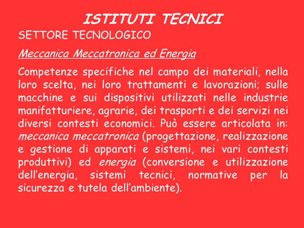 ISTITUTI TECNICI SETTORE TECNOLOGICO Meccanica Meccatronica ed Energia Competenze specifiche nel campo dei materiali, nella loro scelta, nei loro trat