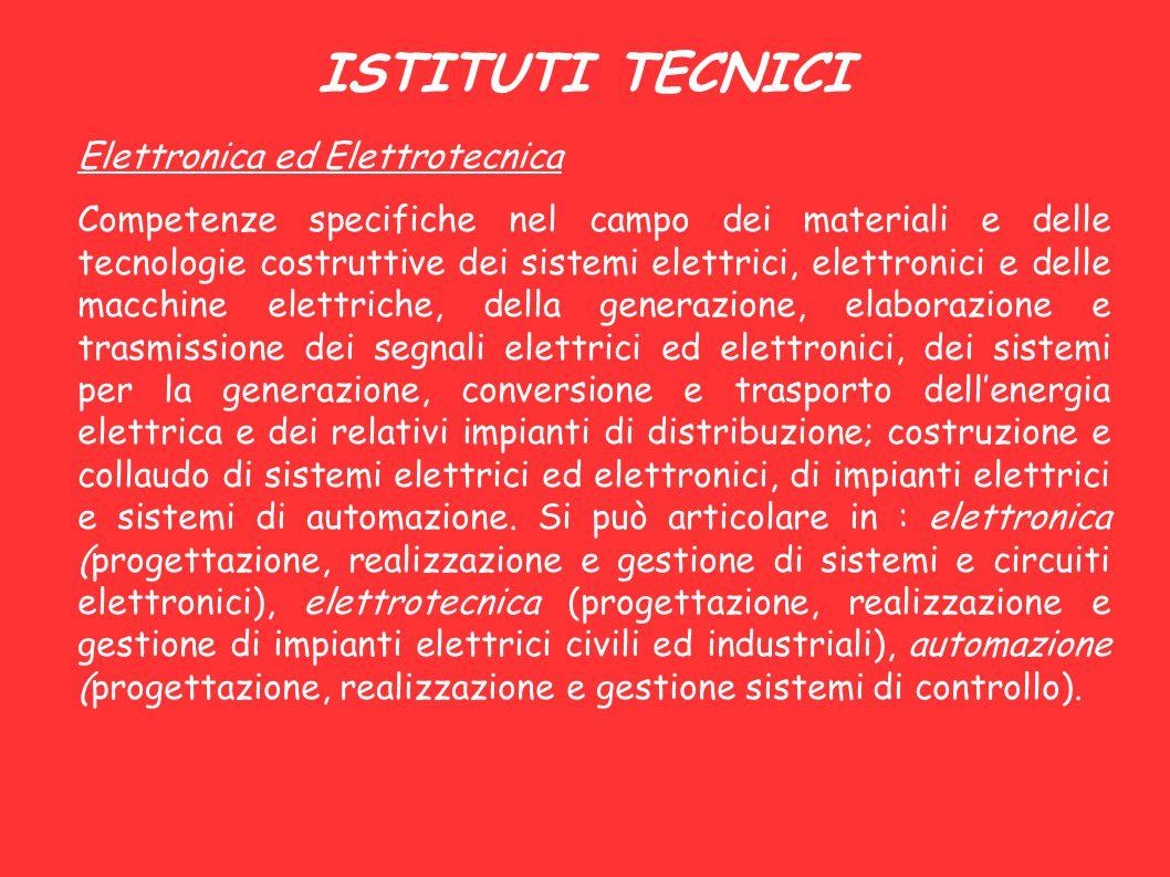 ISTITUTI TECNICI Elettronica ed Elettrotecnica Competenze specifiche nel campo dei materiali e delle tecnologie costruttive dei sistemi elettrici, ele