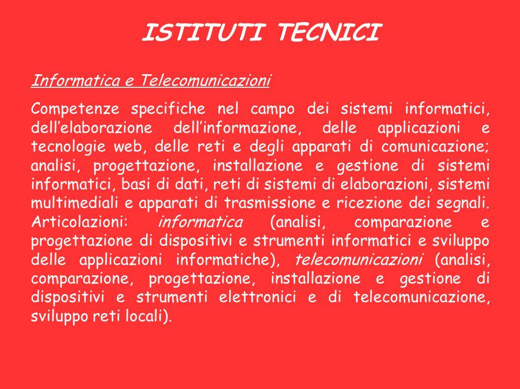 ISTITUTI TECNICI Informatica e Telecomunicazioni Competenze specifiche nel campo dei sistemi informatici, dell'elaborazione dell'informazione, delle a